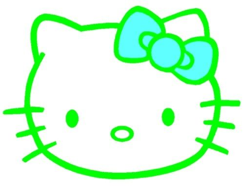An amazing green Hello Kitty with a beautiful light blue bow.  ;D