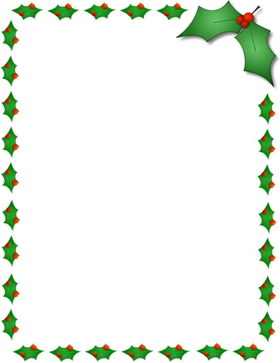 Printable Christmas Border Writing Paper Gift Tag letter cards - page border templates for microsoft word