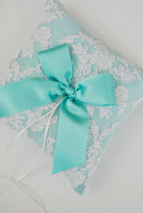 Tiffany Blue Wedding Ring Bearer Pillow Lace by weddingsandsuch