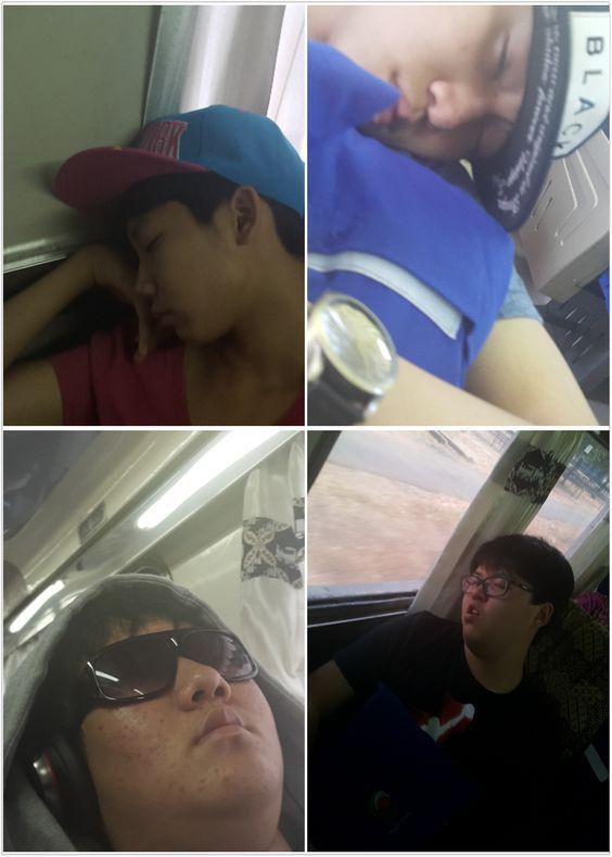 Sleeping students (Sh, H, J, M) on the train