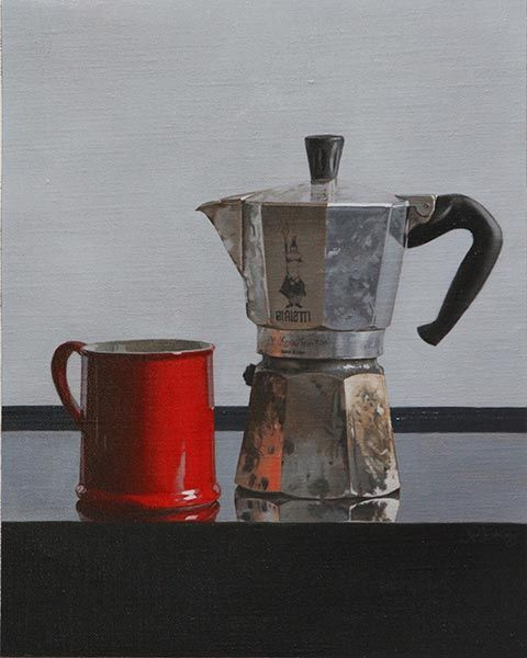 Old School Spanish Coffee Maker : Ah, my good old Spanish coffee pot. We had some good times. (by Jason Patrick Jenkins, oil on ...
