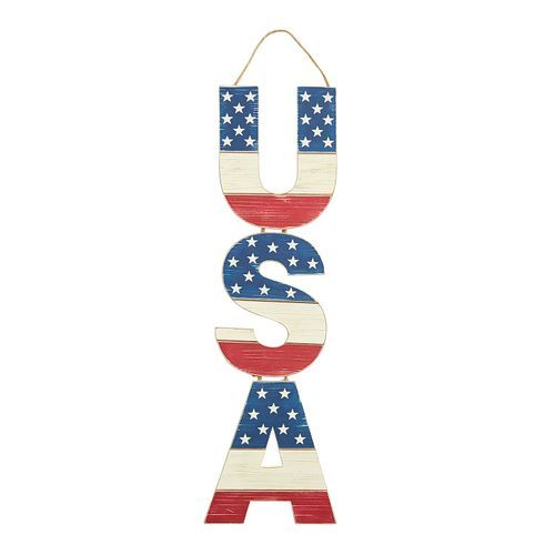 Patriotic Wooden USA Door Decor