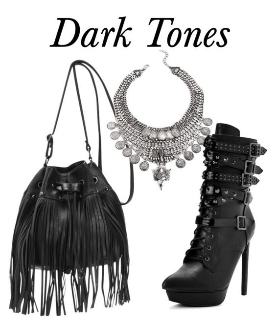 """Dark Tones"" by windsorstore on Polyvore featuring black, fringe, Silver, Dark and bag"