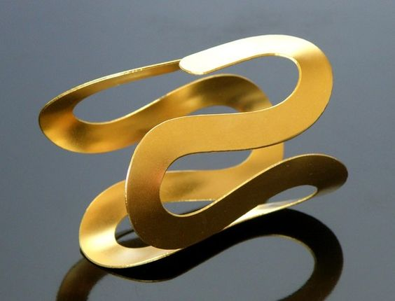 gold cuff  plated twisted   metal brass fashion by netalivne