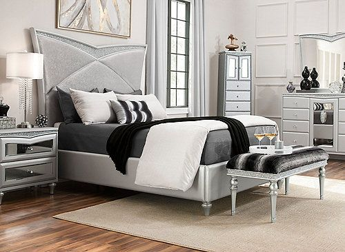 Surround Yourself In Opulence With The Pavia 4 Piece King Bedroom Set At A Glance You Ll Notice How Its Glo Bedroom Sets Queen King Bedroom Sets Bedroom Sets
