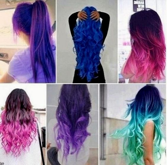 colored ombre hair 2015 pink blue purple green and