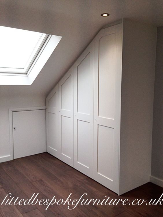 surbiton wardrobe in loft conversion made to fit sloping ceiling