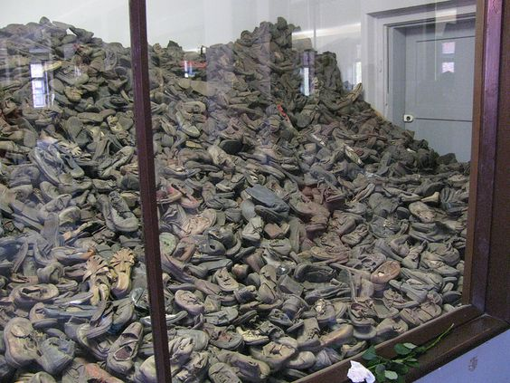 Block 5. Shoes which belonged to Jewish children deported to Auschwitz. Great majority of them were murdered in gas chambers right after arrival.