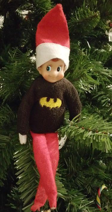 Elf Batman Sweatshirt-Elf on the Shelf, Elf on the shelf clothes, Elf clothes, Elf accessories, Elf sweatshirt, Elf shirt, Batman shirt, Elf batman