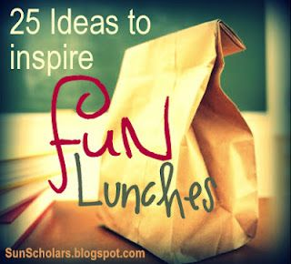 Sun Scholars: Inspiring FUN Lunches.  25 links to super simple and fun ways to make lunch a special part of your child's day.  It doesn't have to be hard!  If you are making lunches for the kiddos to take to school this year, you won't want to miss this great collection of ideas!