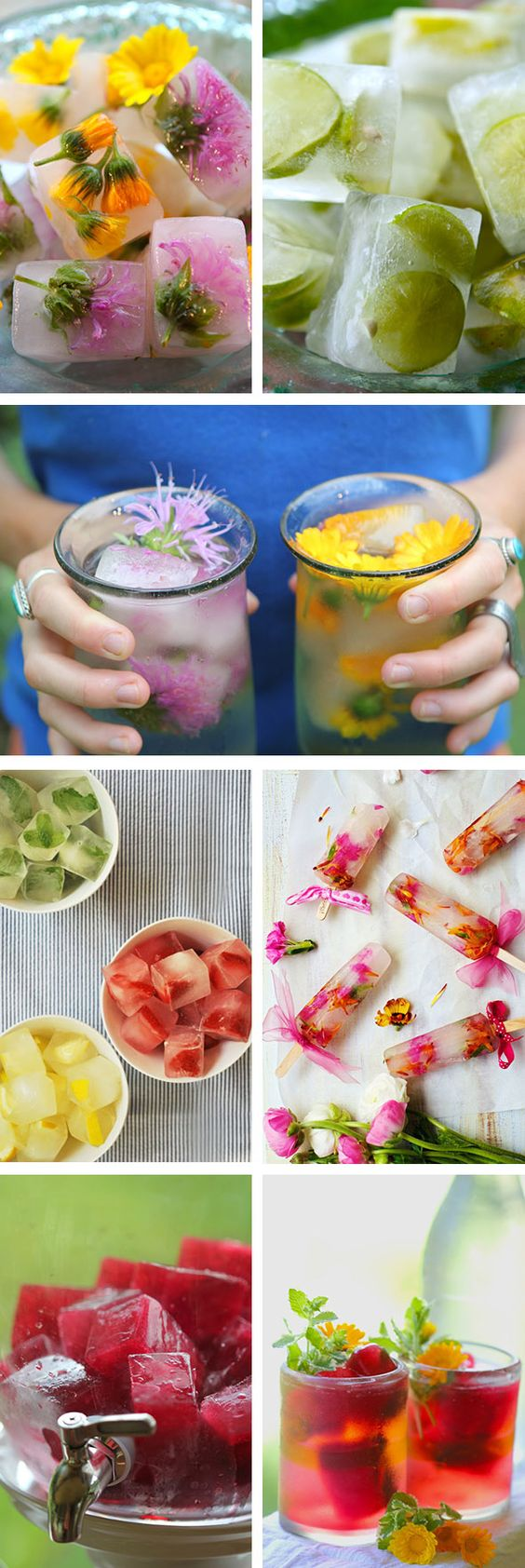 Ice cubes floral edible flowers from bridal bar blog / Creative Wedding Cocktail Ideas with Ice!: