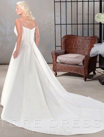 A-line Spaghetti Straps Chapel Train Sleeveless Satin Plus Size Wedding Dress For Brides at Storedress.com