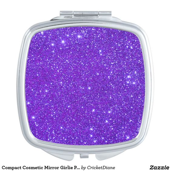Compact Cosmetic Mirror Girlie Purple Sparkly Gift Compact Mirrors