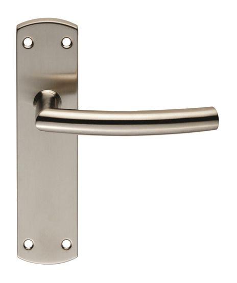 Eurospec Arched Stainless Steel Door Handles On Backplates Satin Stainless Steel Cslp1167sss Stainless Steel Door Handles Door Handles Stainless Steel Doors