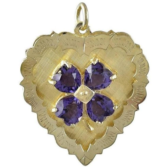 Preowned Amethyst Gold Clover And Heart Charm ($2,400) ❤ liked on Polyvore featuring jewelry, pendants, purple, gold jewellery, 14k gold jewelry, 14 karat gold charms, 14k gold charms and four leaf clover charm