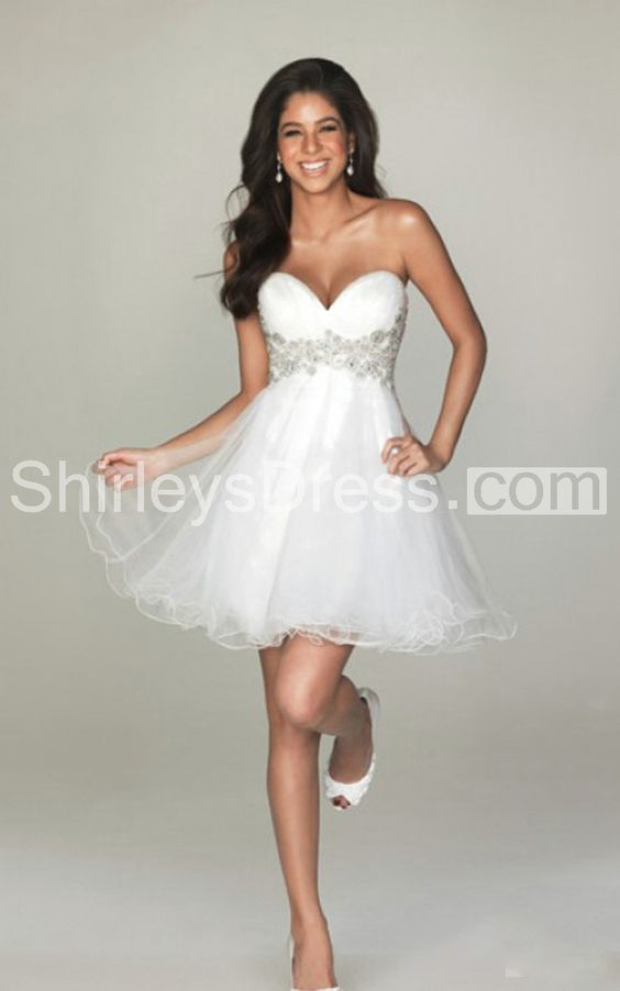Sexy Short Ruffle Tulle Dress With Embroidered Empire Waist