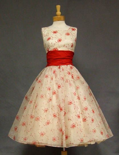 Stunning Red & White Flocked Chiffon Vintage Prom Dress