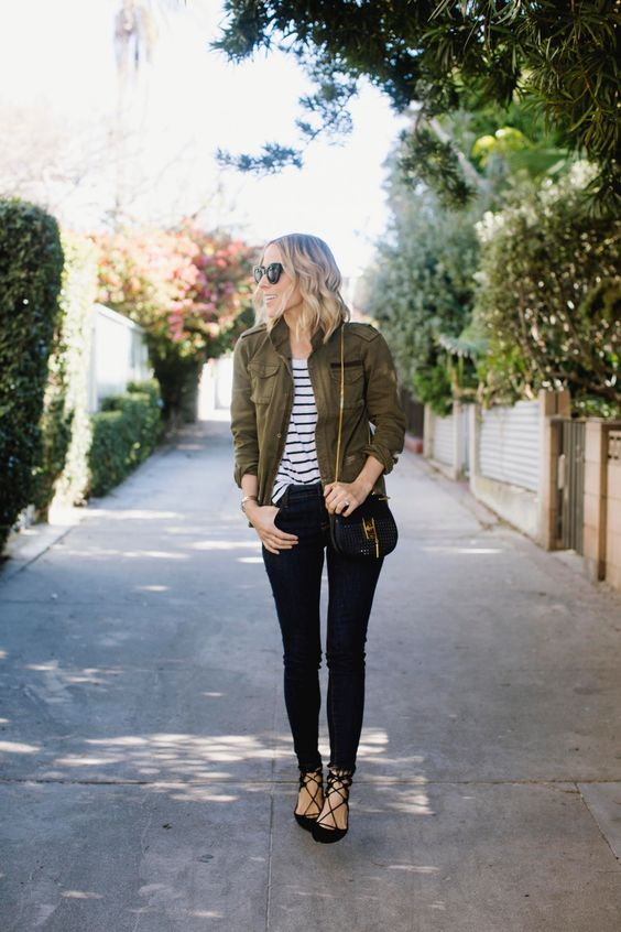 army style jacket striped tee black skinny jeans fall fashion