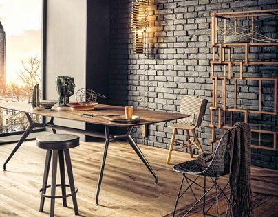 une d coration tout en m tal et en bois style vintage industriel espace bureau atelier. Black Bedroom Furniture Sets. Home Design Ideas