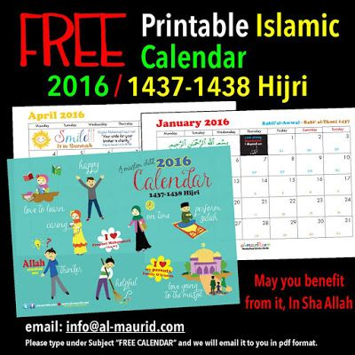 Calendar 2016 islamic planner and more islamic calendar free printable