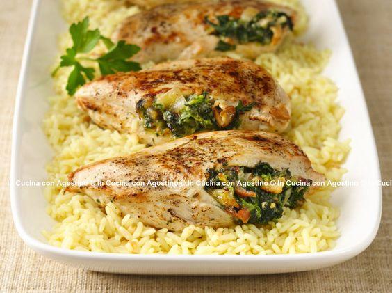 Pollo agli spinaci su letto di riso