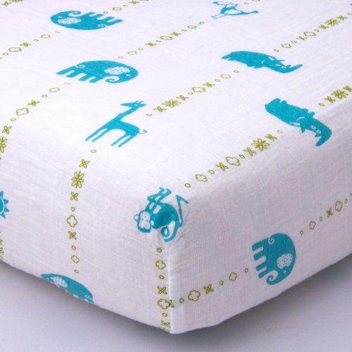 Jungle Teal Muslin Crib Sheet - Organic Cotton Bambino Land https://www.amazon.com/dp/B00BSKRFHW/ref=cm_sw_r_pi_dp_I4aBxbZH4NB8M