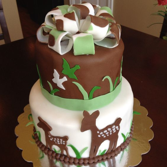 baby shower cake...brown and green for baby boy, love the deer theme!!!