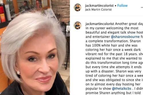 Sharon Osbourne Dyes Hair Platinum Blonde In 2020 Sharon Osbourne Sharon Osbourne Hair Dyed Hair