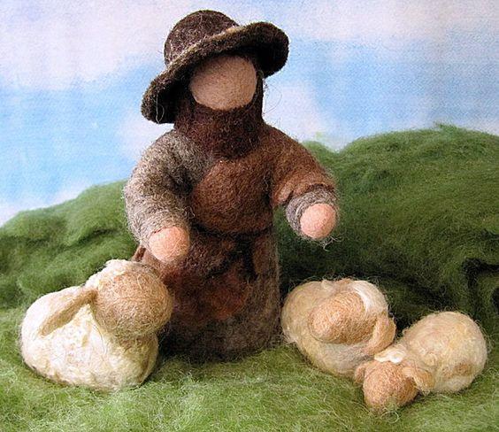 Krippen - Filz-Hirte mit drei Schafen - ein Designerstück von margamay bei DaWanda