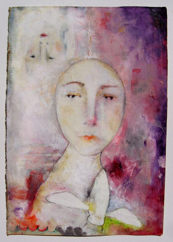Tutorial by Lynne Hoppe: paint faces using oil pastels, watercolors, and white gouache