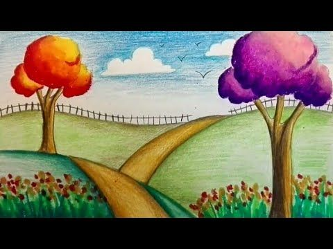 Beautiful And Easy Scenery For Kids Youtube Easy Drawings