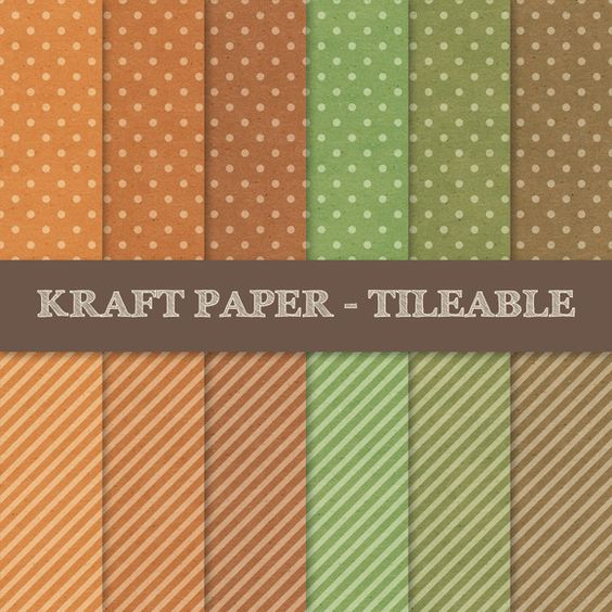 Polka Dots and Stripes ~ Kraft Paper Texture by DESIGN BY nube on Creative Market ~ Scrapbooking Digital Paper Pack ~ Seamless Patterns ~ Vintage, Shabby, Old, Grungy