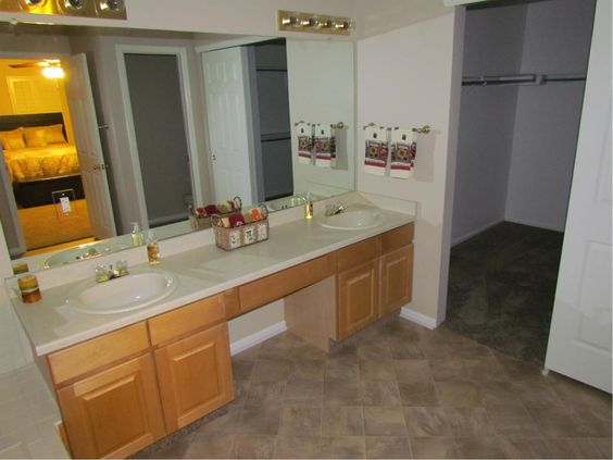 Large double vanity and walk in closet make this an ideal