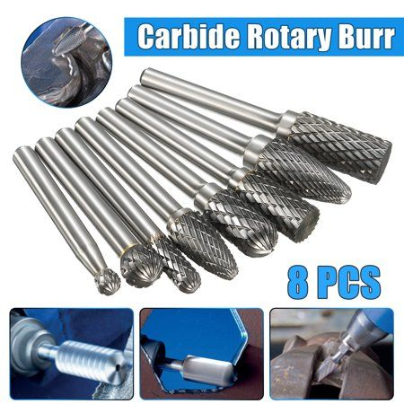 "8Pcs 1//4/"" Shank Double Cut Carbide Rotary Burr Bur Die Grinder File Power"