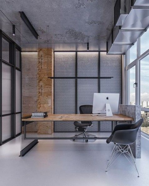 A Minimalist Meets Industrial Home Office With Much Concrete And Metal In Decor A Catchy Industrial Home Offices Industrial Office Decor Modern Office Design