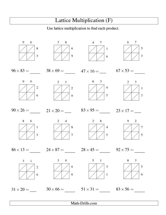 Multiplication Grid Method Worksheets Tes box method – Multiplying Decimals Grid Method Worksheet