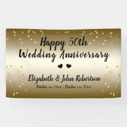 Golden 50th Wedding Anniversary Confetti Elegant Banner Zazzle Com 50th Wedding Anniversary Elegant Banners 50th Wedding
