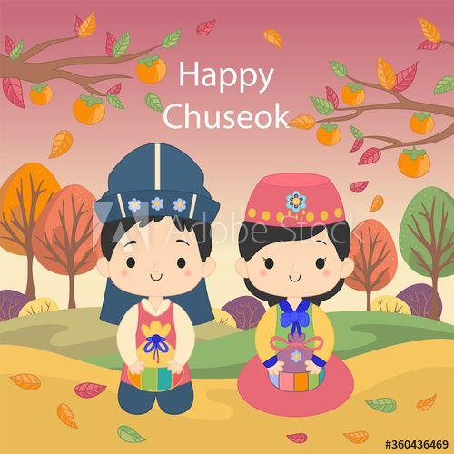Chuseok Or Hangawi Korean Thanksgiving Day Ad Hangawi Chuseok Korean Day Thanksgiving In 2020 Vector Free Korean Thanksgiving Cartoon
