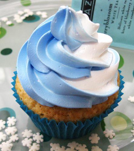 Organic Blueberry White Tea Cupcakes.  These are soo good, Tazo Blueberry White Tea doesn't over power in taste.