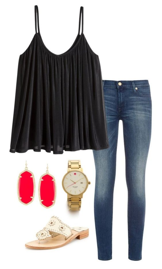 """pop of red"" by helenhudson1 ❤ liked on Polyvore featuring 7 For All Mankind, H&M, Kendra Scott, Jack Rogers and Kate Spade:"
