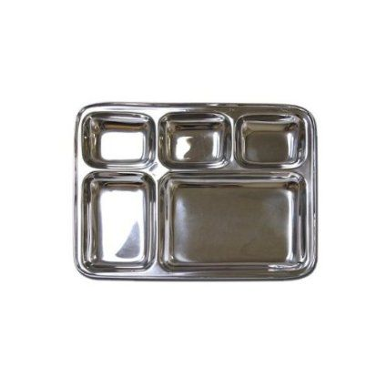 Stainless Steel Rectangular Divided Dinner Tray 5 sections : Amazon.com : Kitchen & Dining
