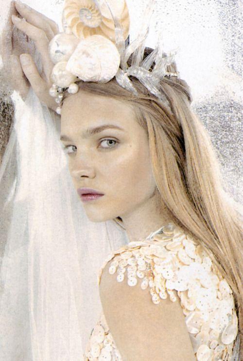 Princess of the Sea: Water Natalia, Sea Queen, Natalia Vodianova, April 2003, Karl Lagerfeld, Editorial Fashion