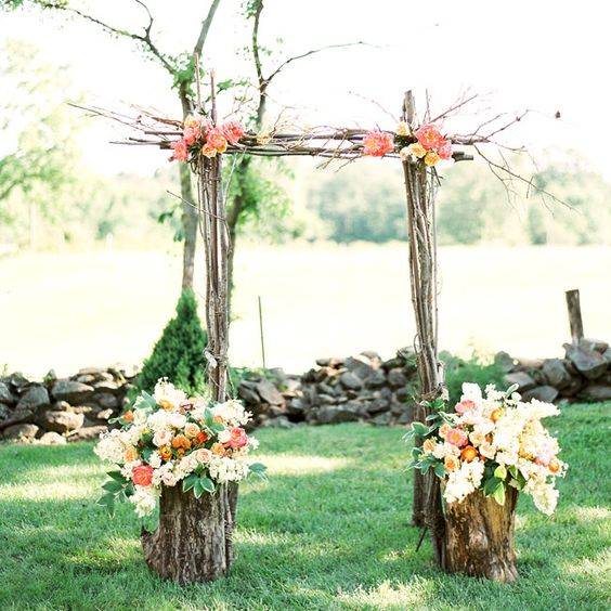 Country Rustic Wedding Altars: Simple Ceremony Arch Made Of Tree Branches And Fresh