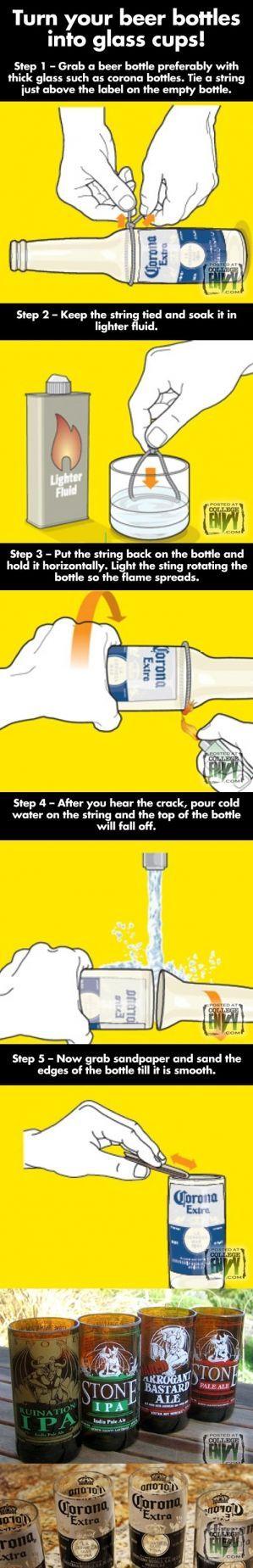 Currando las botellas.