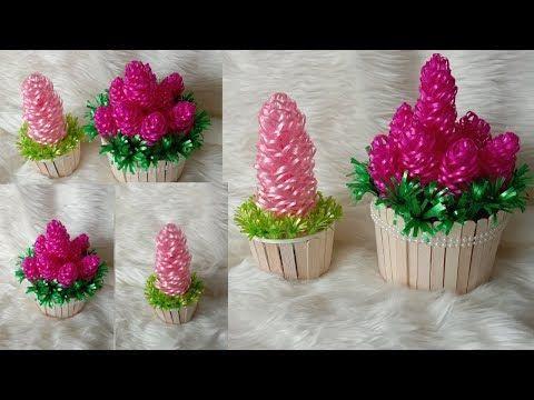 Ide Kreatif Bunga Dari Pita Plastik Dan Cara Membuat Vas Bunga