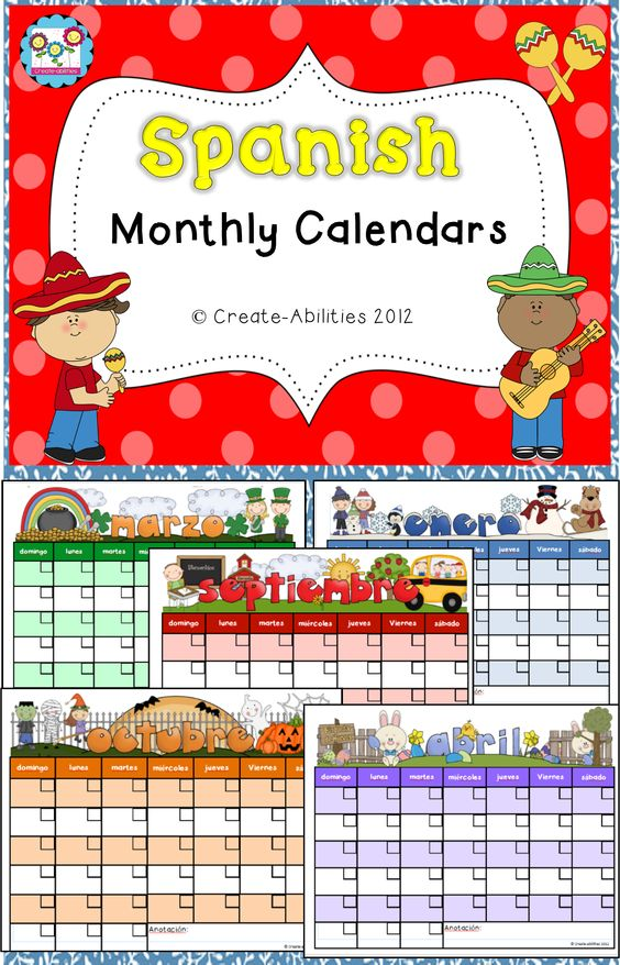 Weekly Calendar In Spanish : Free monthly calendars in spanish create abilities tpt