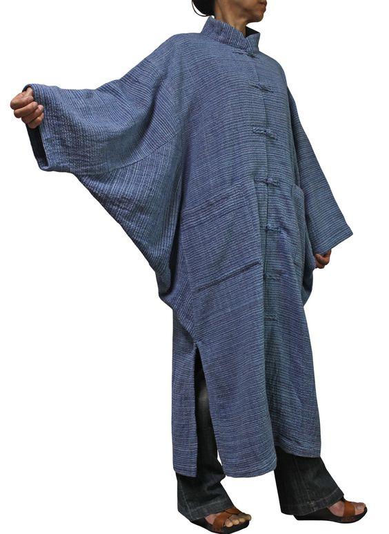 Coton tissé à la main Environ Jomuton couleur Chine long manteau de style japonais JFS-065-04