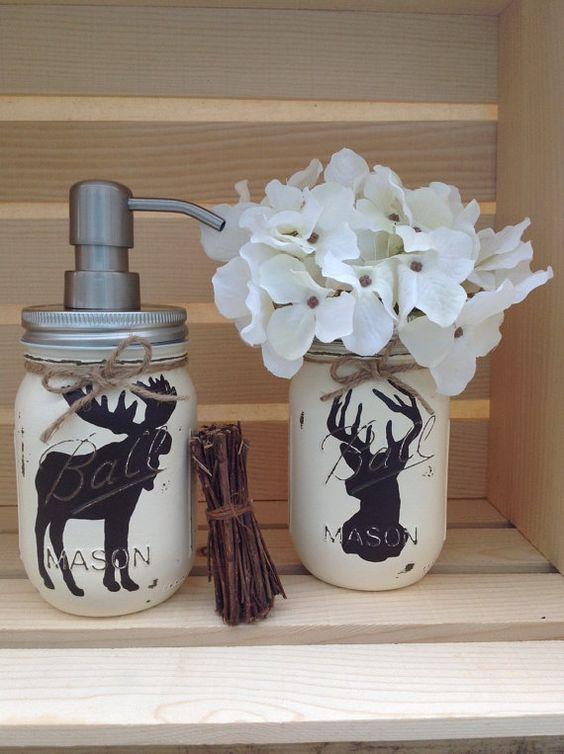 Hunting Bathroom Decor Set : Choose mason jar soap dispenser rustic decor deer