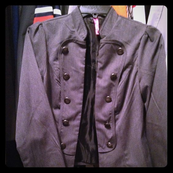 Gray Military style jacket Short gray Cadet style jacket. Buttons