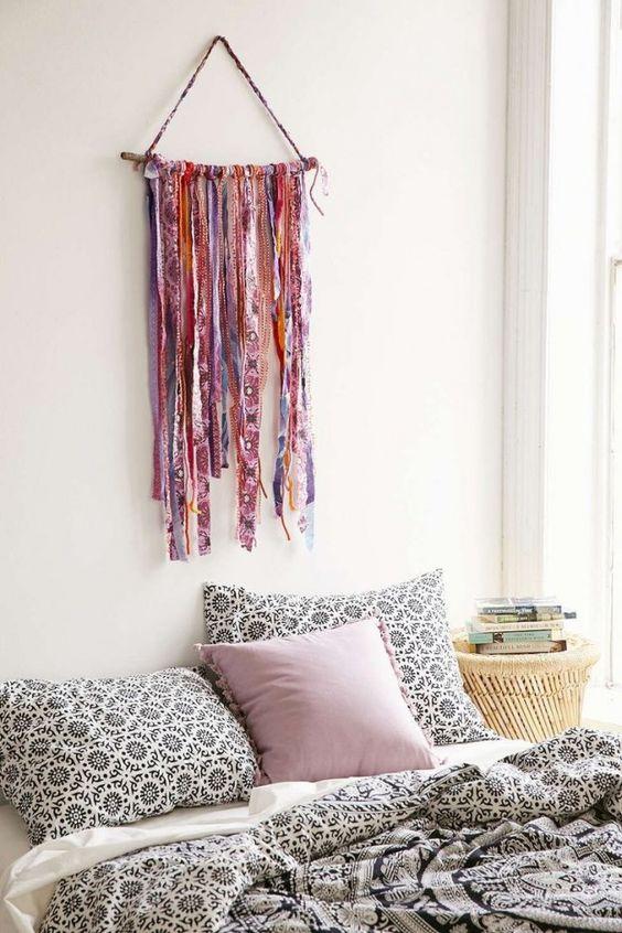 schlafzimmer ideen im boho stil_kreative wandgestaltung schlafzimmer in boho schic style